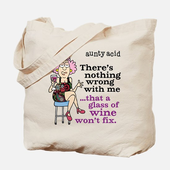 Aunty Acid: Glass of Wine Tote Bag