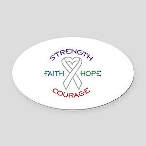 HOPE FAITH COURAGE STRENGTH Oval Car Magnet