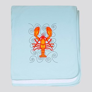 LOBSTER AND WAVES baby blanket