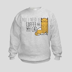 All I Need Is Coffee And My Cat Kids Sweatshirt