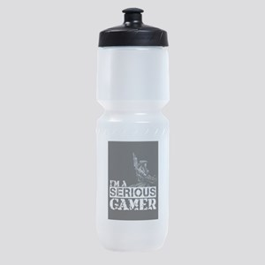 Serious Gamer: Galactic Merc Black Sports Bottle