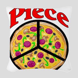 Piece Pizza Peace Sign Woven Throw Pillow