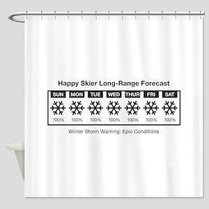 Happy Skier Forecast Shower Curtain