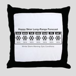 Happy Skier Forecast Throw Pillow