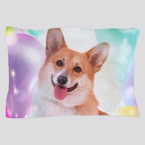 Smiling Corgi with Balloons Pillow Case