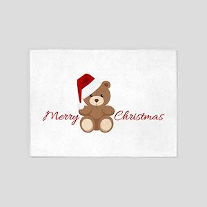 Merry Christmas Teddy 5'x7'Area Rug