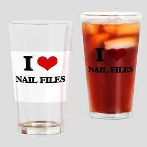 I Love Nail Files Drinking Glass