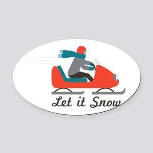 Let It Snow Oval Car Magnet