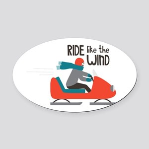 Ride Like The Wind Oval Car Magnet