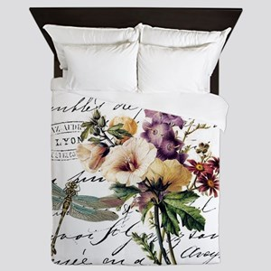 Dragonfly and flowers Queen Duvet