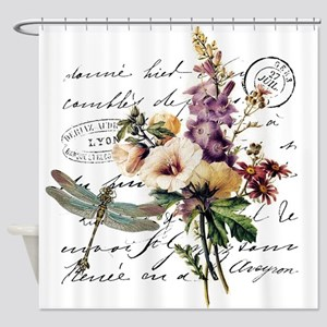 Dragonfly and flowers Shower Curtain