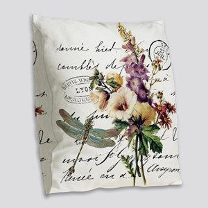 Dragonfly and flowers Burlap Throw Pillow