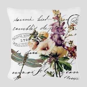 Dragonfly and flowers Woven Throw Pillow