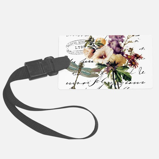 Dragonfly and flowers Luggage Tag