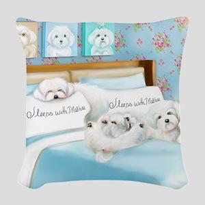 Sleeps with Maltese ByCatiaCho Woven Throw Pillow