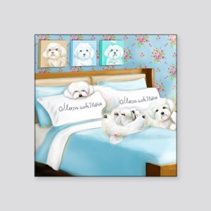 """Sleeps with Maltese ByCatia Square Sticker 3"""" x 3"""""""