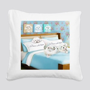 Sleeps with Maltese ByCatiaCh Square Canvas Pillow