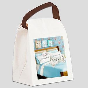 Sleeps with Maltese ByCatiaCho Canvas Lunch Bag
