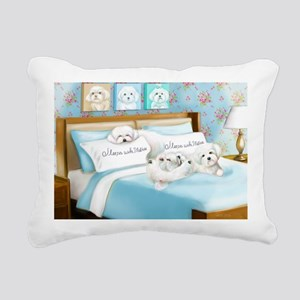 Sleeps with Maltese ByCa Rectangular Canvas Pillow