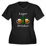 Lager Drinke Women's Plus Size V-Neck Dark T-Shirt
