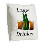 Lager Drinker Burlap Throw Pillow