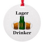 Lager Drinker Round Ornament