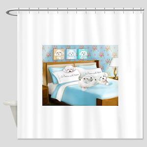 Sleeps with Maltese ByCatiaCho Shower Curtain