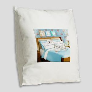 Sleeps with Maltese ByCatiaCho Burlap Throw Pillow