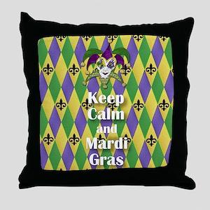 Keep Calm and Mardi Gras Throw Pillow