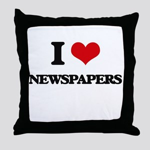 I Love Newspapers Throw Pillow