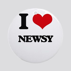 I Love Newsy Ornament (Round)