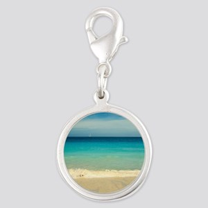 50 shades of blue Silver Round Charm