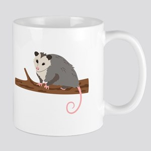 Opossum on Branch Mugs