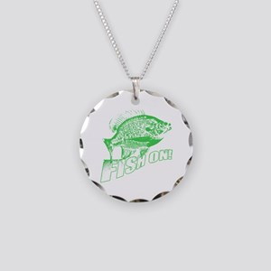 Bluegill Fish on Green Necklace Circle Charm