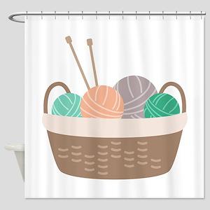 Knitting Basket Shower Curtain