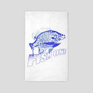 Bluegill Fish on blue Area Rug