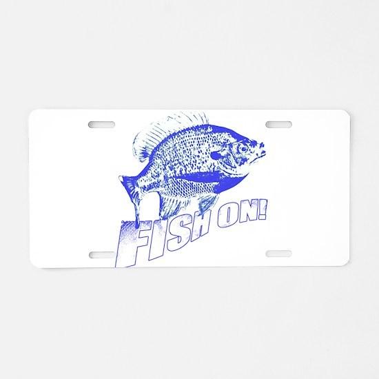 Bluegill Fish on blue Aluminum License Plate