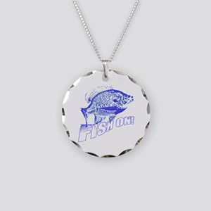 Bluegill Fish on blue Necklace Circle Charm