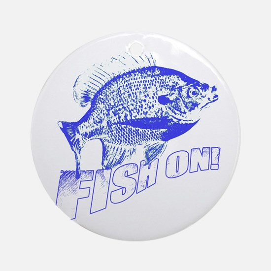 Bluegill Fish on blue Ornament (Round)