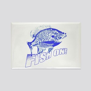Bluegill Fish on blue Rectangle Magnet
