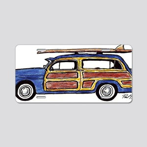 Dark Blue Woody Aluminum License Plate