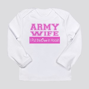 Army Wife Ooo in Hooah_Pink Long Sleeve T-Shirt