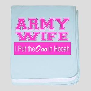 Army Wife Ooo in Hooah_Pink baby blanket