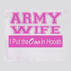 Army Wife Ooo in Hooah_Pink Throw Blanket