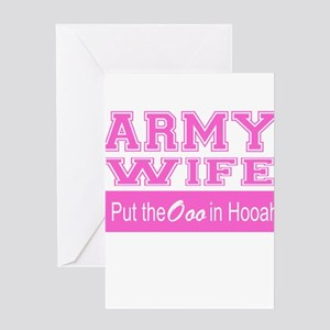 Army Wife Ooo in Hooah_Pink Greeting Cards