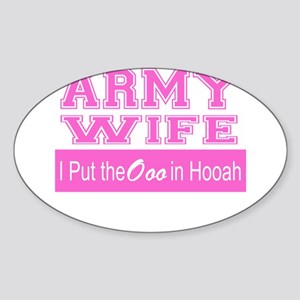 Army Wife Ooo in Hooah_Pink Sticker