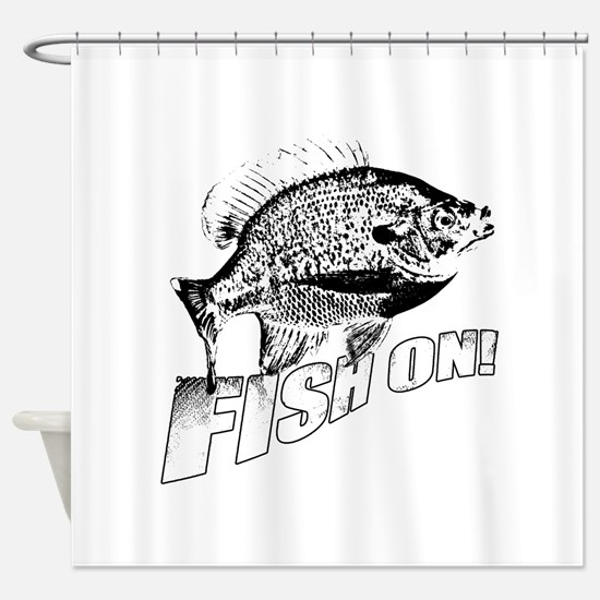 Bluegill Fish on black Shower Curtain
