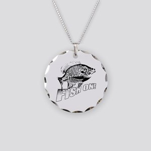 Bluegill Fish on black Necklace Circle Charm