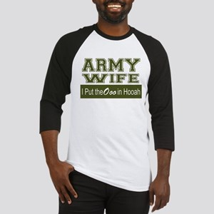 Army Wife Ooo in Hooah_Green Baseball Jersey