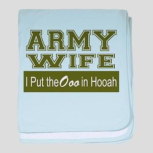 Army Wife Ooo in Hooah_Green baby blanket